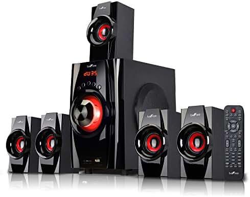 beFree Sound 5.1 Channel Surround Sound Bluetooth Speaker System- Red - 1 Year Direct Manufacturer Warranty