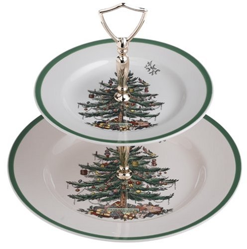 Spode Christmas Tree Double Tier Tray by Spode