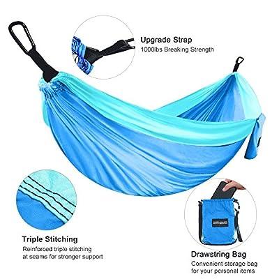 XiYoYo Double Camping Hammock With Hammock Tree Straps,Lightweight Portable Nylon Parachute Hammock for Backpacking, Travel,118Lx 79W