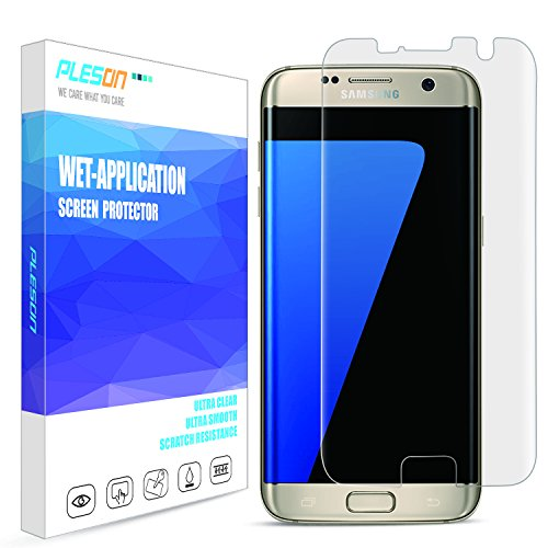 PLESON Galaxy S7 Edge Screen Protector, [Full Coverage][Case Friendly][Bubble-Free][Anti-Scratch][No Lifted Edges] Wet Applied HD Clear Film Screen Protector for Samsung Galaxy S7 Edge