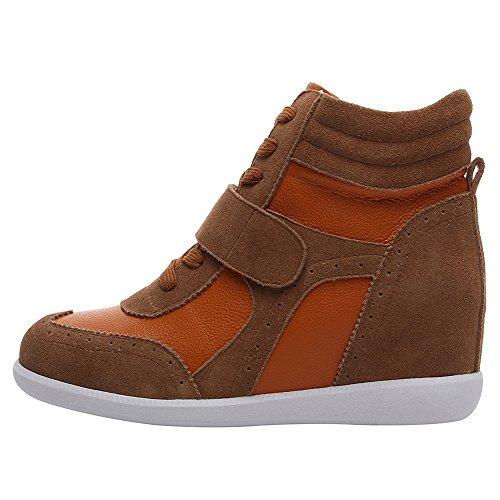 rismart Damen Keilabsatz Klettverschluss Brogue Knöchel Komfort Schuhe Mode Sneaker SN8599A(Grau,EU35)