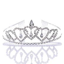 Remedios Crystal Rhinestone Wedding Party Headband Kid Girl Tiaras Crowns Flower Girl Princess Headpiece w/ Comb