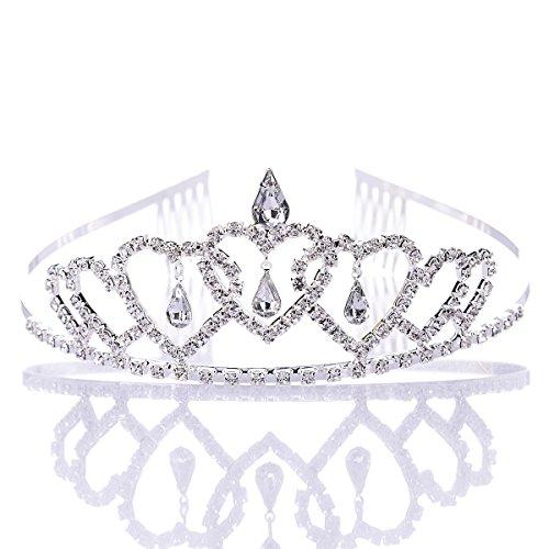 (Remedios Flower Girl Heart Shape Rhinestone Wedding Headband Tiara Kid Girl Party Crystal Princess Headpieces)
