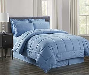 Luxury Bed-in-a-Bag Comforter Set on Amazon! Elegant Comfort Wrinkle Resistant - Silky Soft Beautiful Design Complete Bed-in-a-Bag 8-Piece Comforter Set -HypoAllergenic- Full/Queen, Light Blue