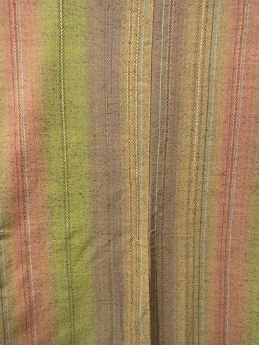 リサイクル 着物 紬  縦縞に菱文様 正絹 袷 裄65.5cm 身丈167cm
