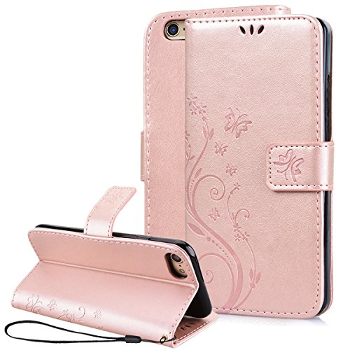 iPhone 7 Case, iPhone 7 Wallet Case, SmartLegend Embossed Floral Butterfly PU Leather Magnetic Flip Folio Cover with TPU Soft Bumper Case & Card Holders & Hand Strap for iPhone 7 4.7