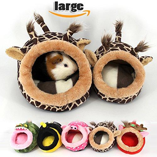 MYIDEA Warm Guinea pigs Bed for Winter - Hedgehog House, Lizard Nest,Squirrel,Chinchillas & Small pet Animals Hideout/Cube, Habitat, Lightweight, Durable, Portable, Cushion Big Mat ( L, Giraffe)