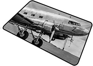 shirlyhome Doormat Inserts Vintage Airplane for Outdoor Entrance Old Airliner Cockpit Antique Engine Propellers Wings and Nostalgia Image Rectangle 24 x 47 inch Grey Black