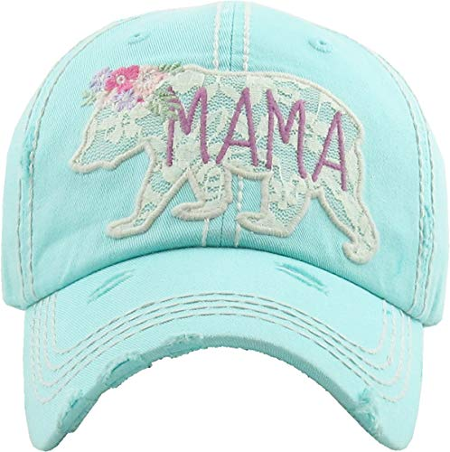 (H-212-MBL54 Distressed Baseball Cap Vintage Dad Hat - Mama Bear Lace (Mint))