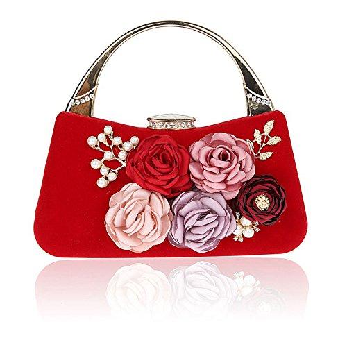 KYOKIM Bolsos Para Mujer PU Evening Bag Flor De Perla De Imitación Para Boda Evento/Fiesta Casual Oficina Formal Y Carrera Invierno Primavera Verano Otoño Todos Red