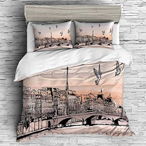 FULL Size Cute 3 Piece Duvet Cover Sets Bedding Set Collection [ Landscape,Panorama Sketch Art Sunset View of Paris From Pont Des Arts with Pigeons River,Peach Grey ] Comforter Cover Set for Kids Girl