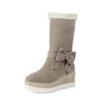 Ladies Color Matching Water Table Spun Gold Bowknot Heighten Inside Beige Frosted Boots - 4 B(M) US