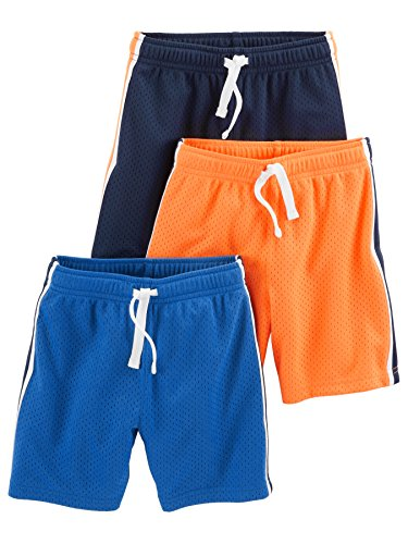 Simple Joys by Carter's Baby Boys' Toddler 3-Pack Mesh Shorts, Blue, Orange, Navy, 3T