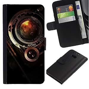 KLONGSHOP // Tirón de la caja Cartera de cuero con ranuras para tarjetas - Cámara Zeiss vintage - HTC One M8 //