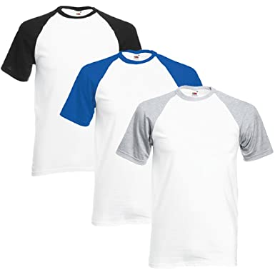 Fruit Of The Loom Herren Valueweight Multi-Pack Of 3 Baseball-T-Shirt