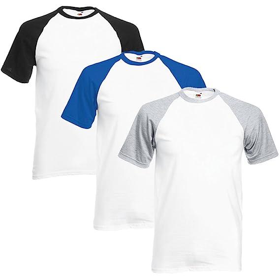 Fruit of the Loom Hombre Pack of 3 Camiseta del béisbol X-Large Blanco/Negro, Blanco/Azul Real, Blanco/Gris Brezo: Amazon.es: Libros