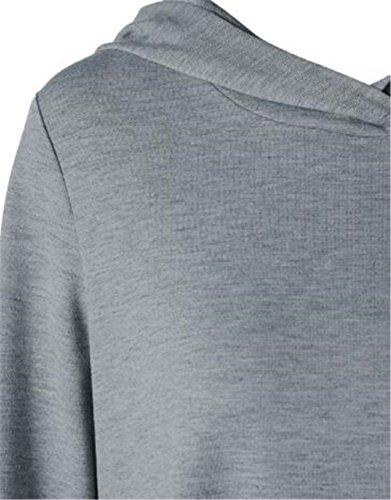 Irregolare Lunga Cappuccio Giuntura Tasche Kerlana Donna Puntino Gray Hoodie Con Orlo Sweater Pullover Moda Felpa Sweatshirt Manica Fg1qv1wX
