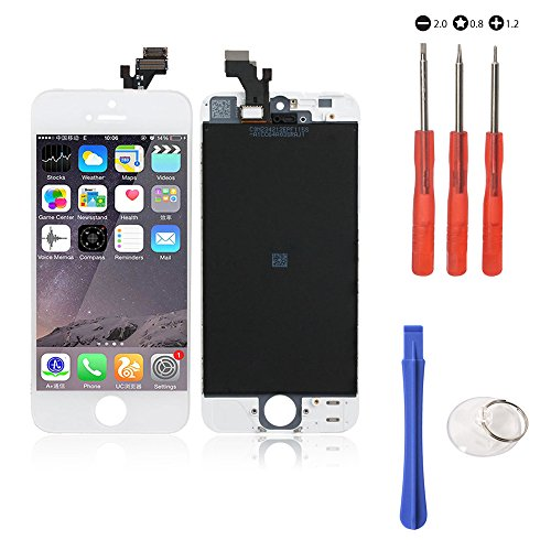 (Touch Screen Digitizer Assembly Replacement for iphone 5 White, touch LCD glass screen, display screen, Glass LCD Display replacement, with FREE Repair Tool Kits & Screen Protector Film)