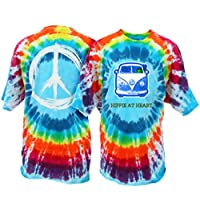 Peace Frogs Hippie at Heart Frog Adult Unisex Tie-Dye Short Sleeve T-Shirt (Bubble Burst, Medium)