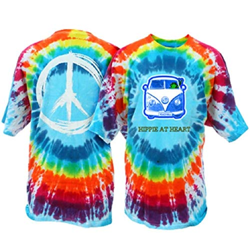 Peace Frogs Hippie at Heart Frog Adult Unisex Tie-Dye Short Sleeve T-Shirt (Bubble Burst, Small)