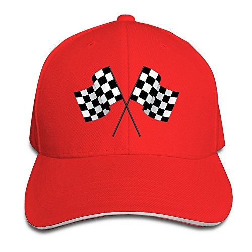 - Checkered Flags Race Car Flag Pole Adjustable Sandwich Peaked Baseball Hats