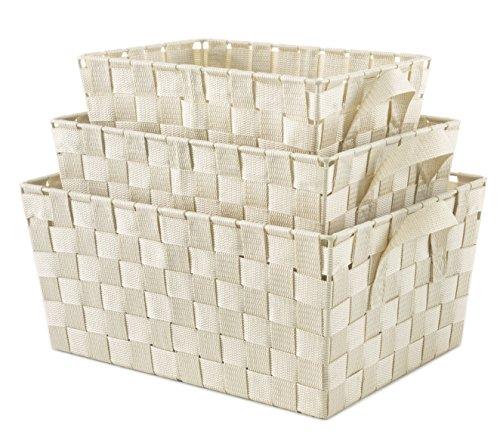 Whitmor Woven Strap Storage Baskets S/3-Latte Cream - Whitmor Storage Tote