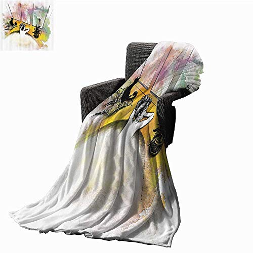 (anlulu Modern Decor Home Throw Blanket Girl with Cat Taking Bath in Spa Aroma Theraphy Relaxing Peaceful Illustration All Season Premium Bed Blanket 60