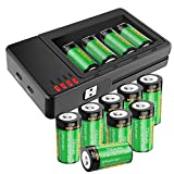 RCR123A Rechargeable Batteries and Charger, Haidan 12-Pack 3.7V 700mAh Li-ion Battery for Arlo VMS3030/3230/3330/3430/3530 Security Cameras