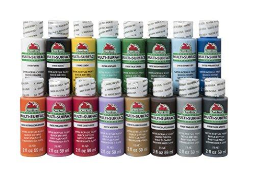 Apple Barrel Multi-Surface Paint Set, 16 Piece (2-Ounce), PROMOABMS1 Best Selling Colors