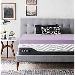 LUCID Ventilated Design 4 Inch Lavender Infused Memory Foam Mattress Topper, Queen