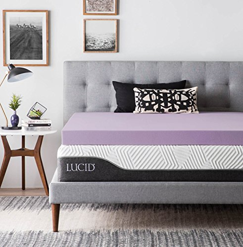 (LUCID 4 Inch Lavender Infused Memory Foam Mattress Topper - Ventilated Design - Queen Size)