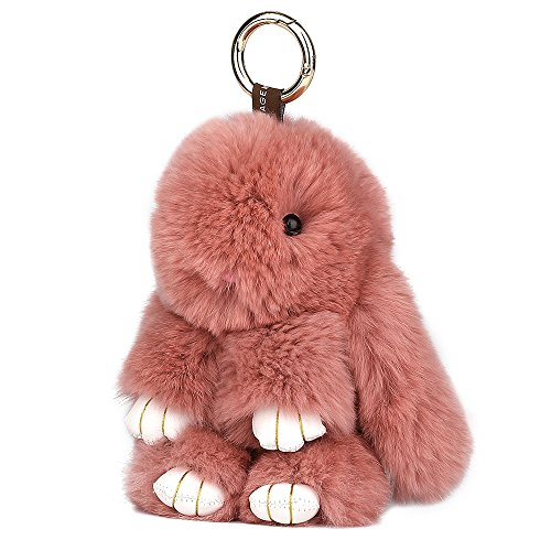 SCIONE Cute Easter Rabbit Bunny Fur Keychain for Women's Bag Charms or Car Accessories (Light Pink)
