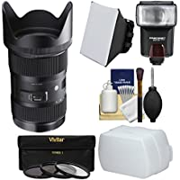 Sigma 18-35mm f/1.8 Art DC HSM Zoom Lens with Flash + Soft Box & Diffuser + 3 Filters + Kit for Sony Alpha A-Mount DSLR Cameras