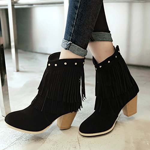Women's Fringe Tassel High Block Retro Nubuck Artfaerie Booties Heels Leather Black Ankle Boots ZqwnI