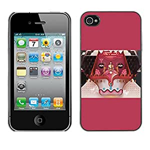 SoulCase / Apple Iphone 4 / 4S / Surreal Abstract Animal Ox Collage Art / Delgado Negro Plástico caso cubierta Shell Armor Funda Case Cover