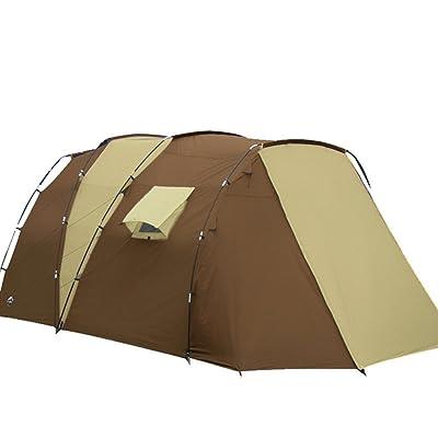 2 Chambre 1 Personnes 5 à 8 grandes tentes Hall Multi famille personne grandes tentes Tentes de camping Voyage extérieur Pluie chaude anti-vent double couche tentes kaki marron (270CM +220CM) * 280CM * 195