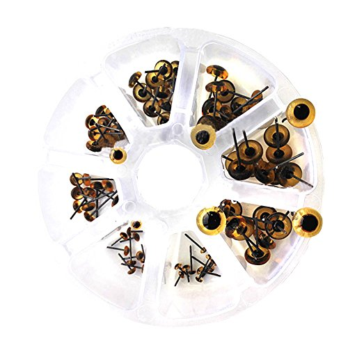 BESTCYC 1Box(80pcs) 3-10cm 8Size Light Amber Mini Glass Eyes kits for Needle Felting Bears Dolls Decoys Sewing Crafts