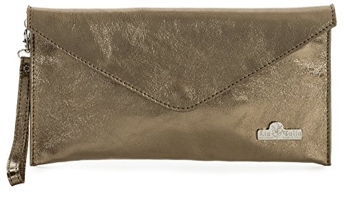 Envelope Bag Clutch LEAH Cotton with Evening Bronze Lining Leather Suede Italian Metallic LIATALIA CXxwYtqfq