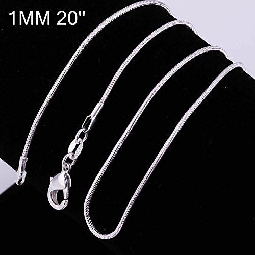 Chaîne pour collier - Plaqué argent sterling 925/00 - Bijou fantaisie haut de gamme - Blanc - Serpent 1mm - 50cm - Cadeau Femme pas cher - Mes Bijoux Bracelets