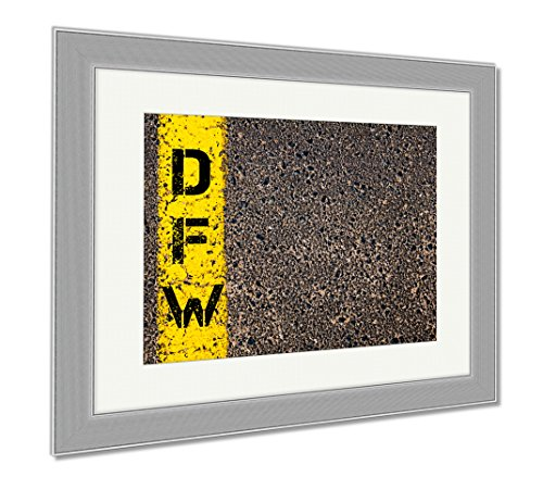 Ashley Framed Prints Dfw Three Letters Airport Code, Wall Art Home Decoration, Color, 30x35 (frame size), Silver Frame, - Shops Dfw Airport