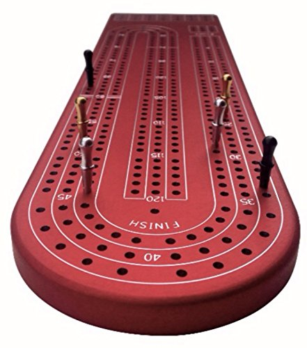 Quality Red Cribbage Board by Gapple, Durable Aluminum Material, Precise Engraving, Gorgeous Anodized Finish, Color Variety, Metal Scoring Pegs and Convenient Peg Storage