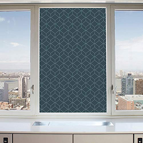 3D Decorative Privacy Window Films,Ancient Ethnic Moroccan Style Shapes Hexagonal Triangle Lines Art,No-Glue Self Static Cling Glass Film for Home Bedroom Bathroom Kitchen Office 17.5x36 Inch - Hexagonal Beveled Glass