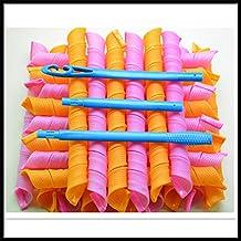 18 Hair Curlers : Normal Hair Curlers Leverag Circle Curlformers #S Magic Rollers + Hook 55CM : circle magic spiral
