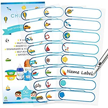Baby Bottle Labels for Daycare, Waterproof Durable Write-On Kids Name  Labels, Pack of 96