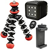 LitraTorch Waterproof Dimmable 8-LED Video Light For Smartphone Cameras w/ Joby Magnetic Flexible Tripod Stand w/ Ivation Wireless Bluetooth Camera Shutter Remote Control for Apple and Android Phones