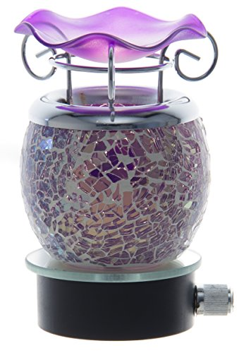 Variation Color Cracked Crystal Design Decorative Glass Electric Plug-in Fragrance Lamp Aromatherapy Oil Warmer/burner Night Light in Gift Box # Mt-044 (Purple)