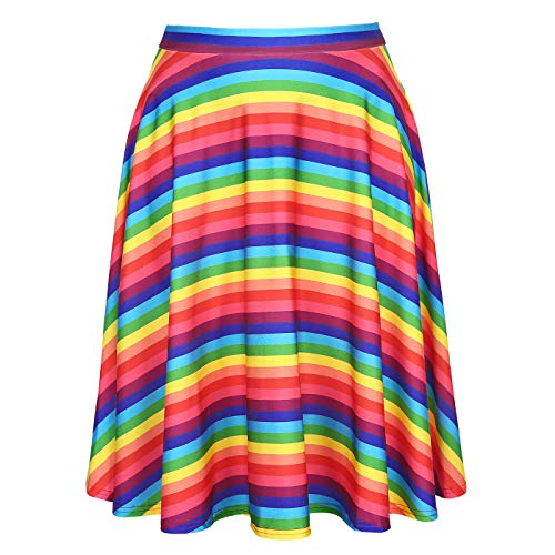 Women's Rainbow Striped Party Skirt Mini Skirts for