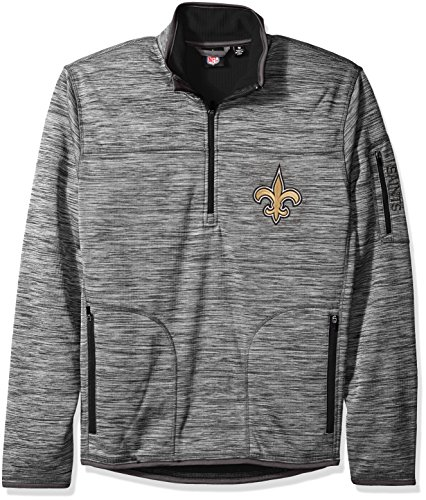 G-III Sports NFL New Orleans Saints Men's Fast Pace Half Zip Pullover Top, Heather Grey, Large (Saints Orleans New Pullover Jacket)