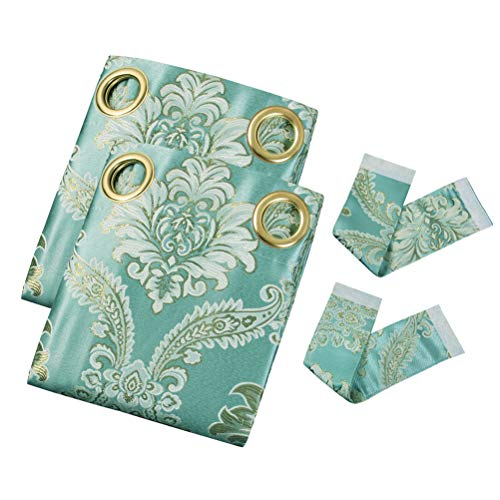 elkca Jacquard Luxury Curtains Panels Window Curtains for Living Room,Grommet Top, Pack of 2 (Damask-Blue, 52