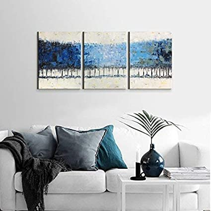 Amazon.com: Bedroom Blue Wall Art Framed Modern 3-Piece Gallery ...